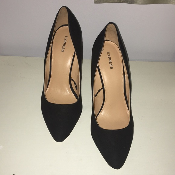 Express Shoes - Black Suede Shoes with Thick Heel